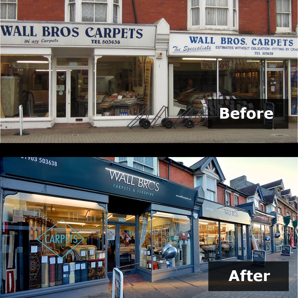 Wall Bros shopfront Tarring Road Before and After, rebranding Worthing