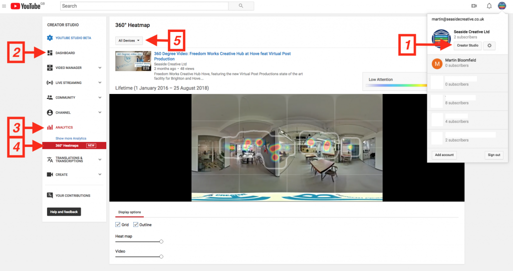 Screen shot of YouTube location of Heat Map Reports