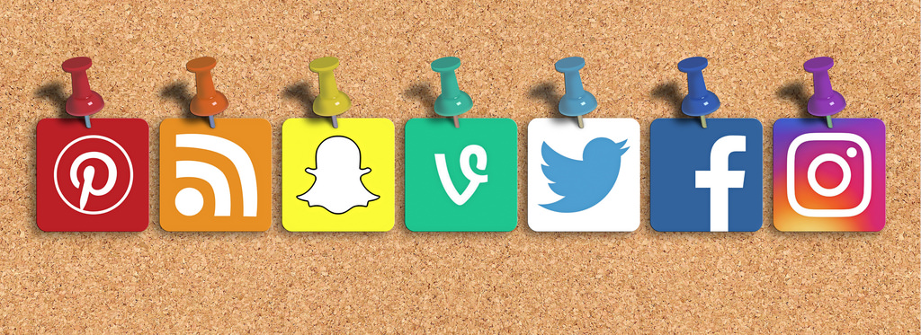 social media icons on a pinboard