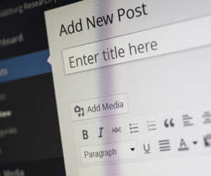 A photo of creating a post on WordPress