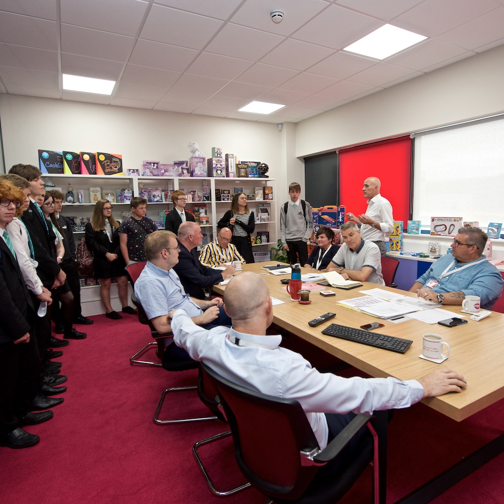 boardingroom meeting with visiting students