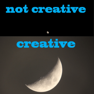 A moon from far away versus a moon close up. Showing the difference between creativity and not being creative.