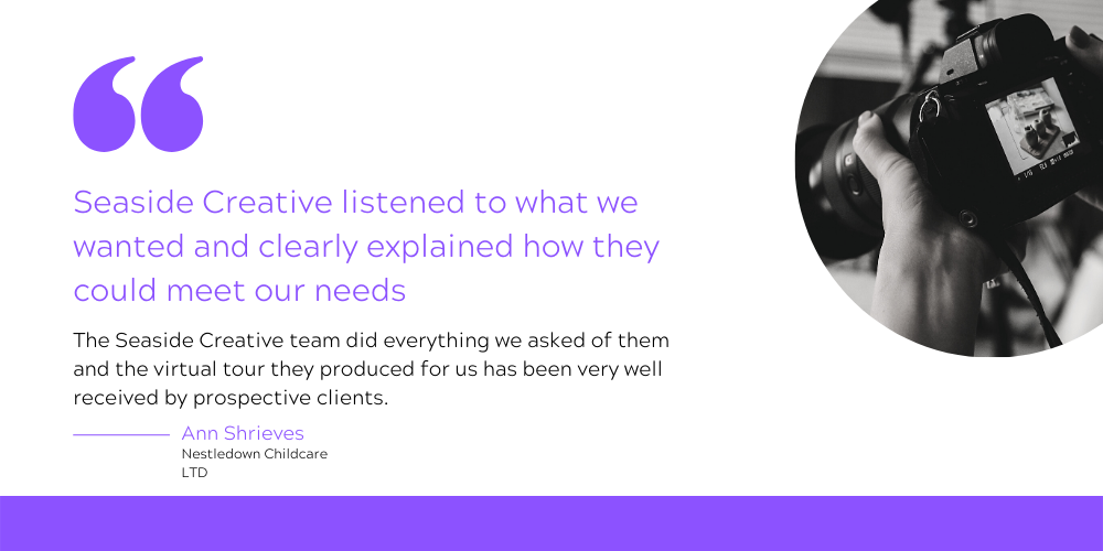 The testimonial reads: Seaside Creative listened to what we wanted and clearly explained how they could meet our needs. The Seaside Creative team did everything we asked of them and the virtual tour they produced for us has been very well received by prospective clients.