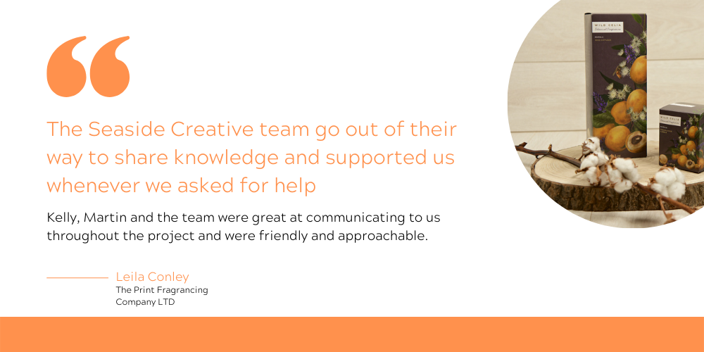 The testimonial reads: The Seaside Creative team go out of their way to share knowledge and supported us whenever we asked for help. Kelly, Martin and the team were great at communicating to us throughout the project and were friendly and approachable.